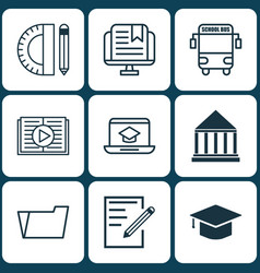 Set 9 education icons includes transport vector