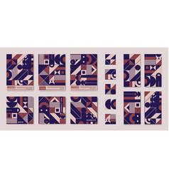 set abstract geometric square cards a4 vector image