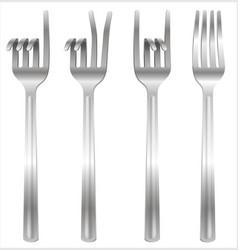 Set forks bent in form gestures vector
