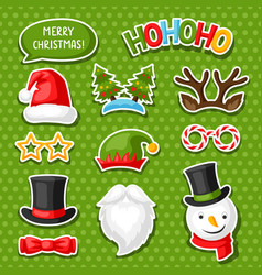 Set merry christmas photo booth stickers vector