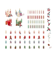 Set of different candles with Christmas decoration vector