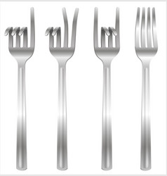 Set of forks bent in the form of gestures vector