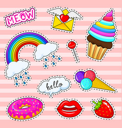 set of girls fashion cute patches fun stickers vector image