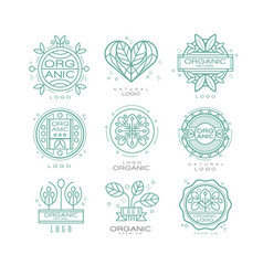 Set of organic and natural logo design vector