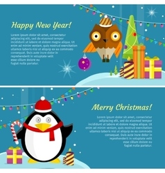 Set of Winter Holidays Concept Banners vector