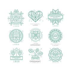 Set organic and natural logo design vector