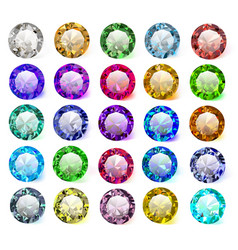 Set precious stones different colors vector