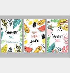 set three summer sale templates vector image