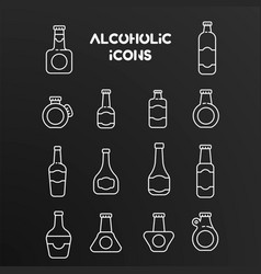 set white linear icons alcoholic bottles vector image