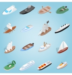 Ship set icons isometric 3d style vector image