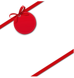 silk red ribbon border isolated white background vector image