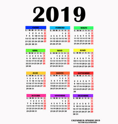 Simple design for calendar 2019 vector