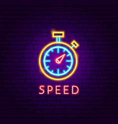 speed neon label vector image