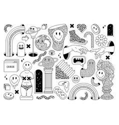 Surreal sticker pack ancient culpture emoji vector