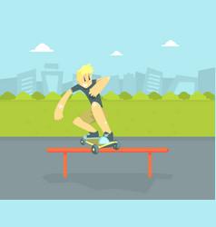 teen boy in baseball cap riding skateboard vector image