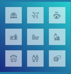 transportation icons line style set with luggage vector image