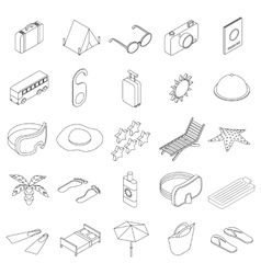 Travel icons set isometric 3d style vector image