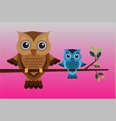 two brown and blue owls on a branch vector image