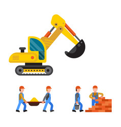 under construction excavator technic vector image