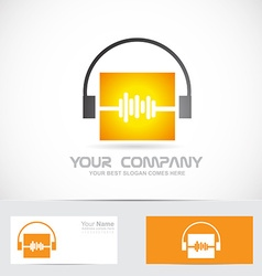 Volme audio headphones music logo vector image