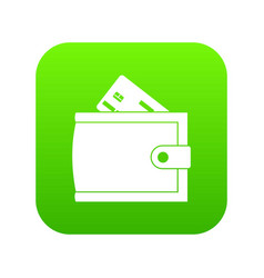 wallet with credit card and cash icon digital vector image