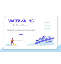 Water-skiing landing page template with text space vector