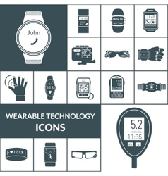 Wearable Technologies Icons Black vector