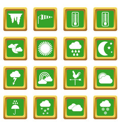 Weather icons set green vector