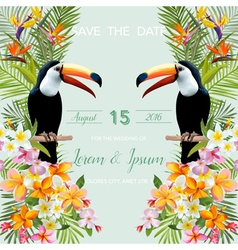 Wedding Card Tropical Flowers Toucan Bird vector