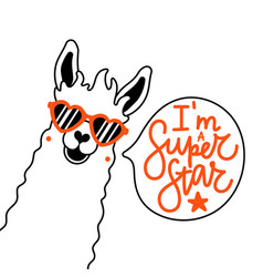 with llama at red heart shaped glasses and speech vector image