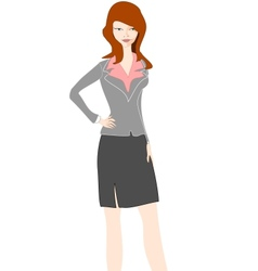 Young businesswoman stands with hands on her hips vector image