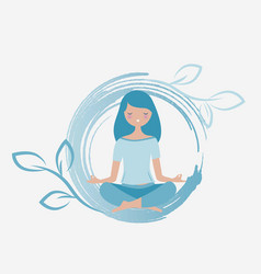 Young woman meditating vector