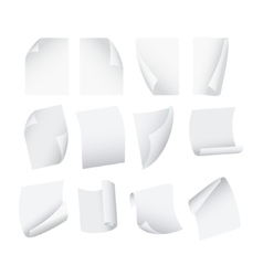 Flying Template Blank White Paper Set vector image