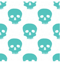 skull seamless pattern hand drawn sketch vector image