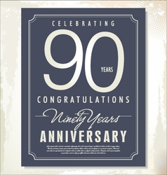 90 years anniversary background vector image vector image