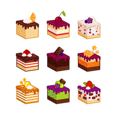 Cake slices with flavour decor vector