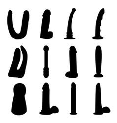 Dildo silhouettes set vector image
