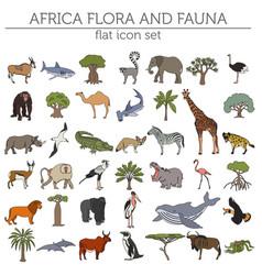 Flat africa flora and fauna map constructor vector