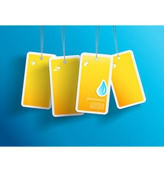 Four hanging yellow aqua cards You can place your vector image