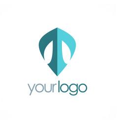 letter t shield logo vector image
