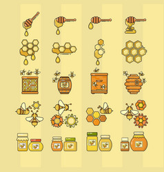 outline style beekeeping vector image