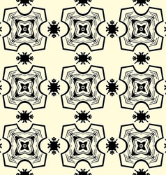 Seamless ornament pattern in black on yellow vector image