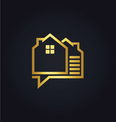 house data technology gold logo vector image vector image