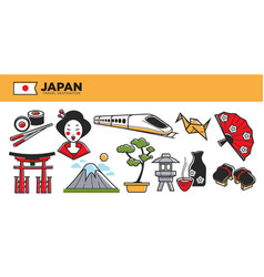 japan travel destination promotional poster with vector image vector image