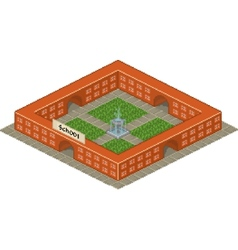 Pixel art school building icon vector image