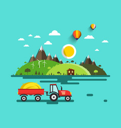 flat design landscape tractor with dray on field vector image vector image