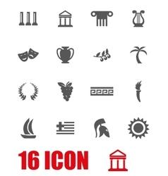grey greece icon set vector image vector image