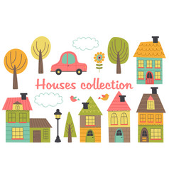 set of isolated houses and other elements part 1 vector image vector image