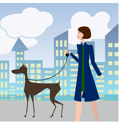 sexy girl walking with a dog vector image