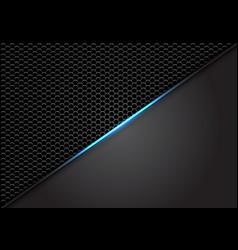 Abstract blue light slash on dark hexagon mesh vector
